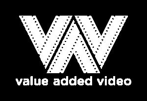 value added video logo mono white